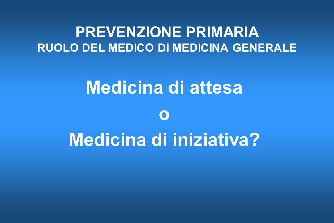 PREVENZIONE PRIMARIA RUOLO DEL MEDICO DI MEDICINA GENERALE Medicina di attesa o Medicina di iniziativa?