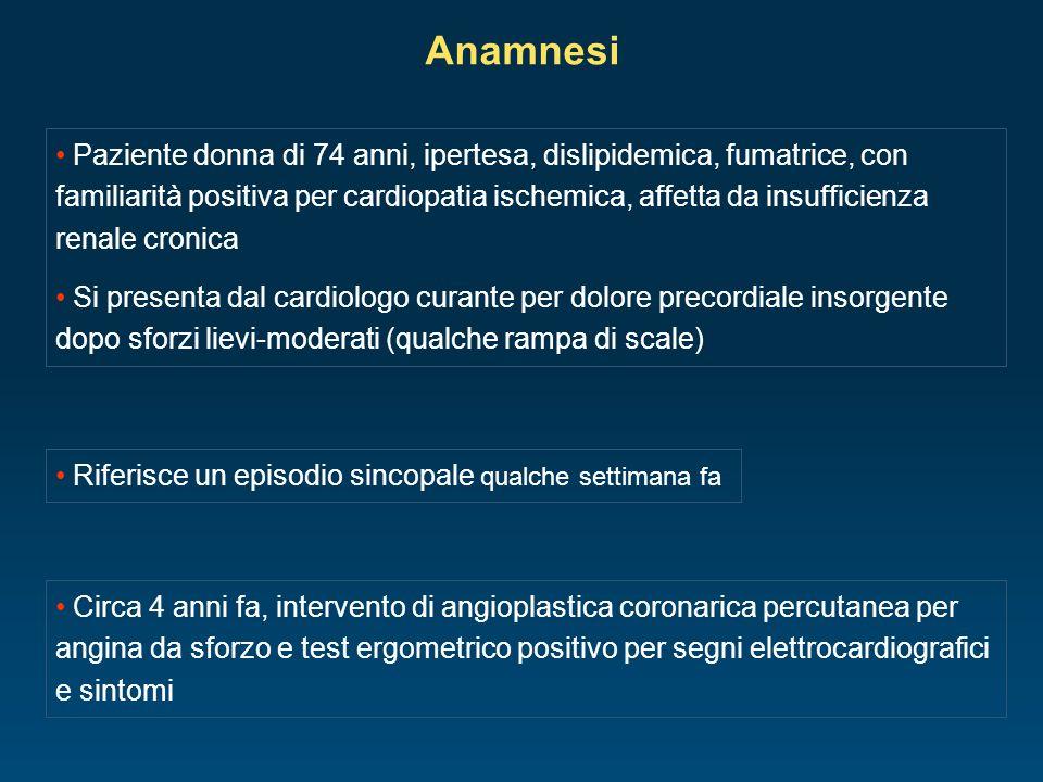 Anamnesi Paziente donna di 74 anni, ipertesa, dislipidemica, fumatrice, con familiarità positiva per cardiopatia ischemica, affetta da insufficienza r