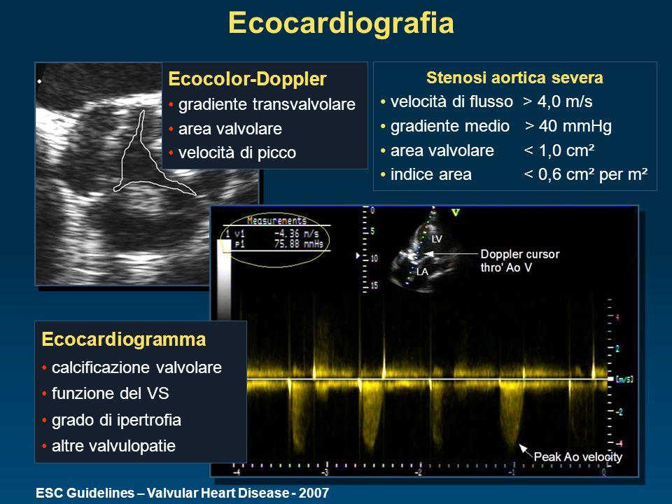 Ecocardiografia Ecocardiogramma calcificazione valvolare funzione del VS grado di ipertrofia altre valvulopatie Ecocolor-Doppler gradiente transvalvol