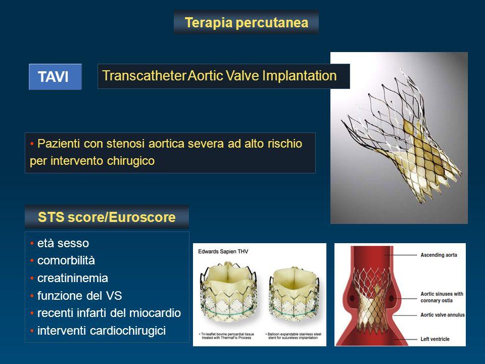 Terapia percutanea TAVI Pazienti con stenosi aortica severa ad alto rischio per intervento chirugico Transcatheter Aortic Valve Implantation età sesso