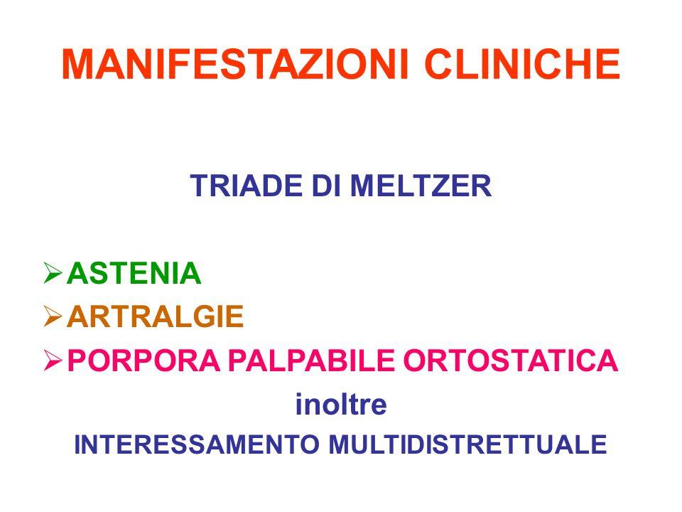 MANIFESTAZIONI CLINICHE TRIADE DI MELTZER ASTENIA ARTRALGIE PORPORA PALPABILE ORTOSTATICA inoltre INTERESSAMENTO MULTIDISTRETTUALE