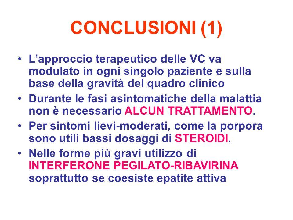 CONCLUSIONI (1) Lapproccio terapeutico delle VC va modulato in ogni singolo paziente e sulla base della gravità del quadro clinico Durante le fasi asi
