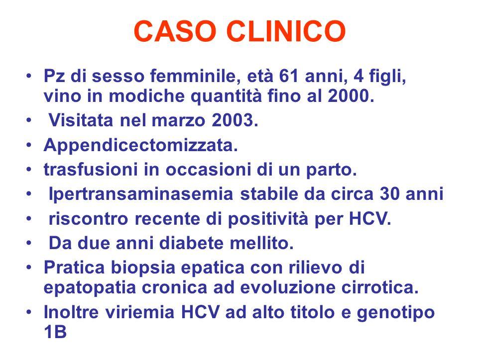 CASO CLINICO Pz di sesso femminile, età 61 anni, 4 figli, vino in modiche quantità fino al 2000. Visitata nel marzo 2003. Appendicectomizzata. trasfus