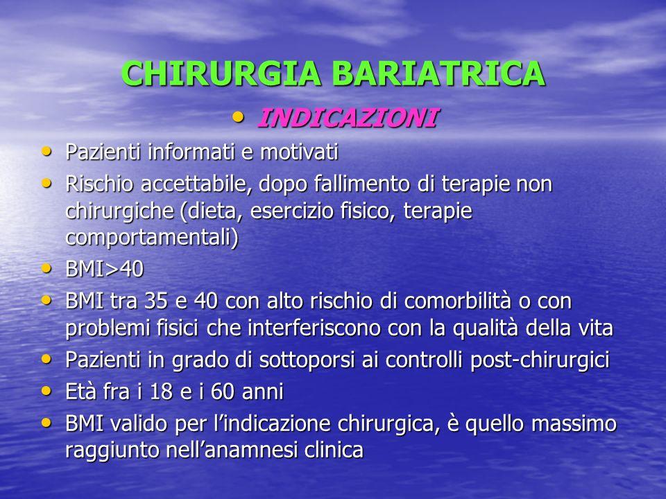 CHIRURGIA BARIATRICA INDICAZIONI INDICAZIONI Pazienti informati e motivati Pazienti informati e motivati Rischio accettabile, dopo fallimento di terap