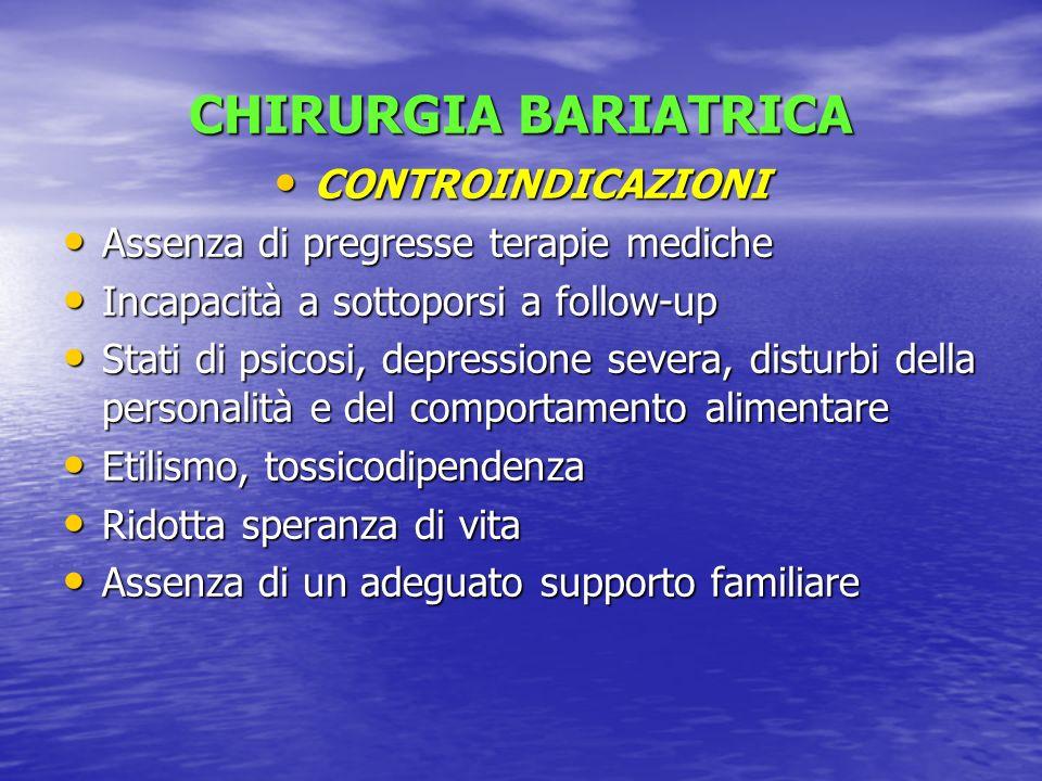 CHIRURGIA BARIATRICA CONTROINDICAZIONI CONTROINDICAZIONI Assenza di pregresse terapie mediche Assenza di pregresse terapie mediche Incapacità a sottop