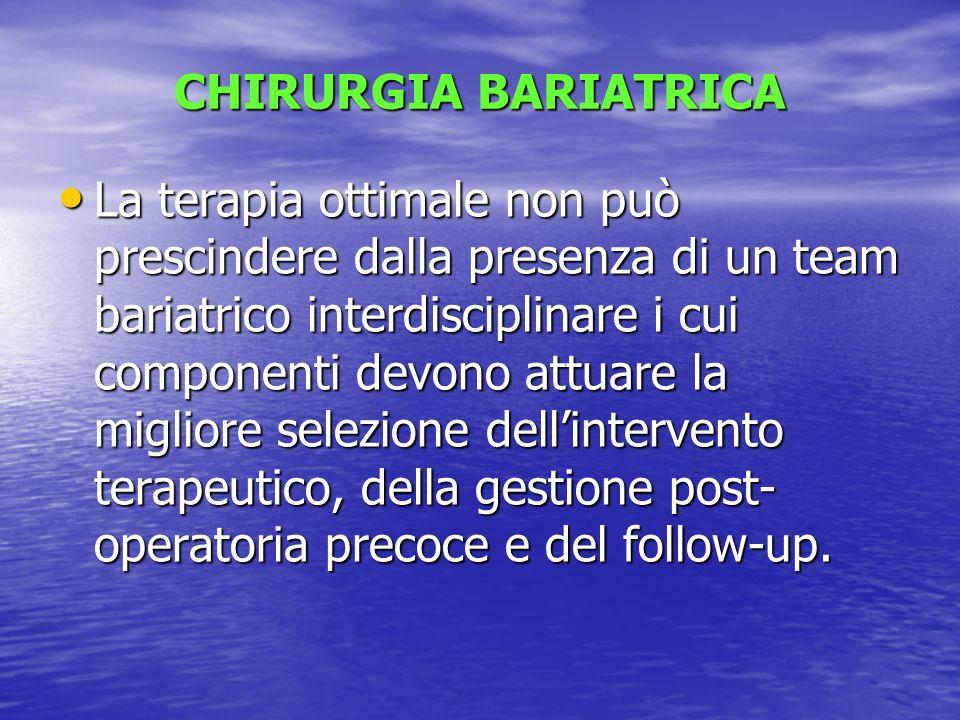 CHIRURGIA BARIATRICA La terapia ottimale non può prescindere dalla presenza di un team bariatrico interdisciplinare i cui componenti devono attuare la