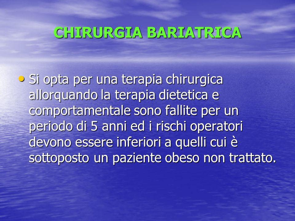 CHIRURGIA BARIATRICA Si opta per una terapia chirurgica allorquando la terapia dietetica e comportamentale sono fallite per un periodo di 5 anni ed i