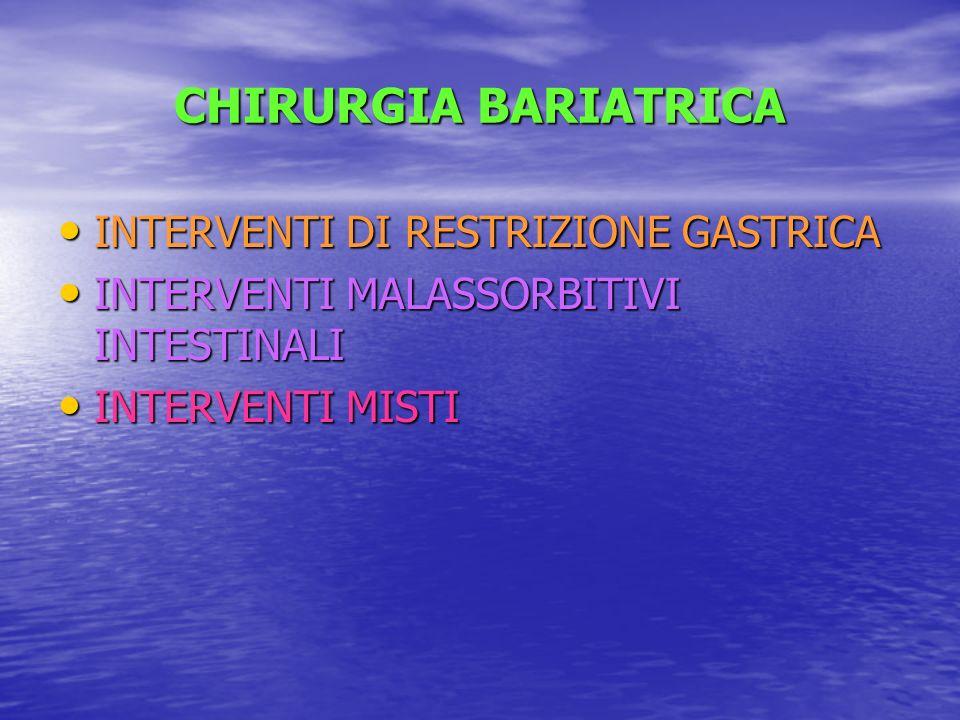 CHIRURGIA BARIATRICA INTERVENTI DI RESTRIZIONE GASTRICA INTERVENTI DI RESTRIZIONE GASTRICA INTERVENTI MALASSORBITIVI INTESTINALI INTERVENTI MALASSORBI