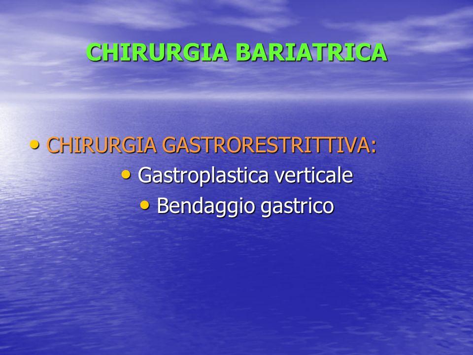 CHIRURGIA BARIATRICA CHIRURGIA GASTRORESTRITTIVA: CHIRURGIA GASTRORESTRITTIVA: Gastroplastica verticale Gastroplastica verticale Bendaggio gastrico Be