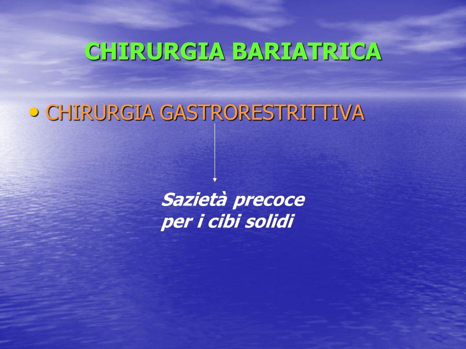 CHIRURGIA BARIATRICA CHIRURGIA GASTRORESTRITTIVA CHIRURGIA GASTRORESTRITTIVA Sazietà precoce per i cibi solidi