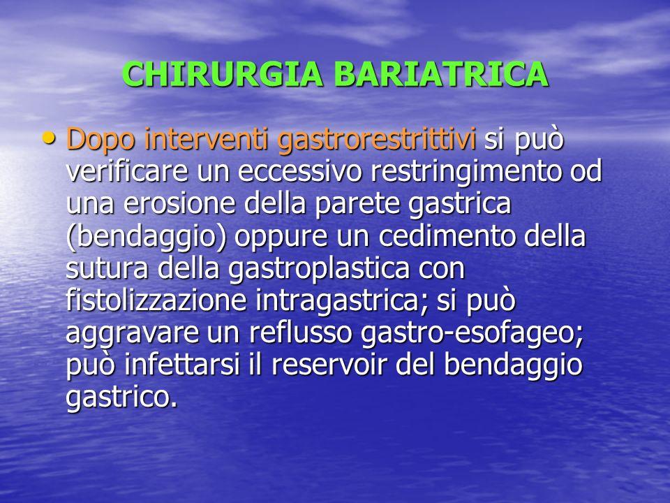 CHIRURGIA BARIATRICA Dopo interventi gastrorestrittivi si può verificare un eccessivo restringimento od una erosione della parete gastrica (bendaggio)