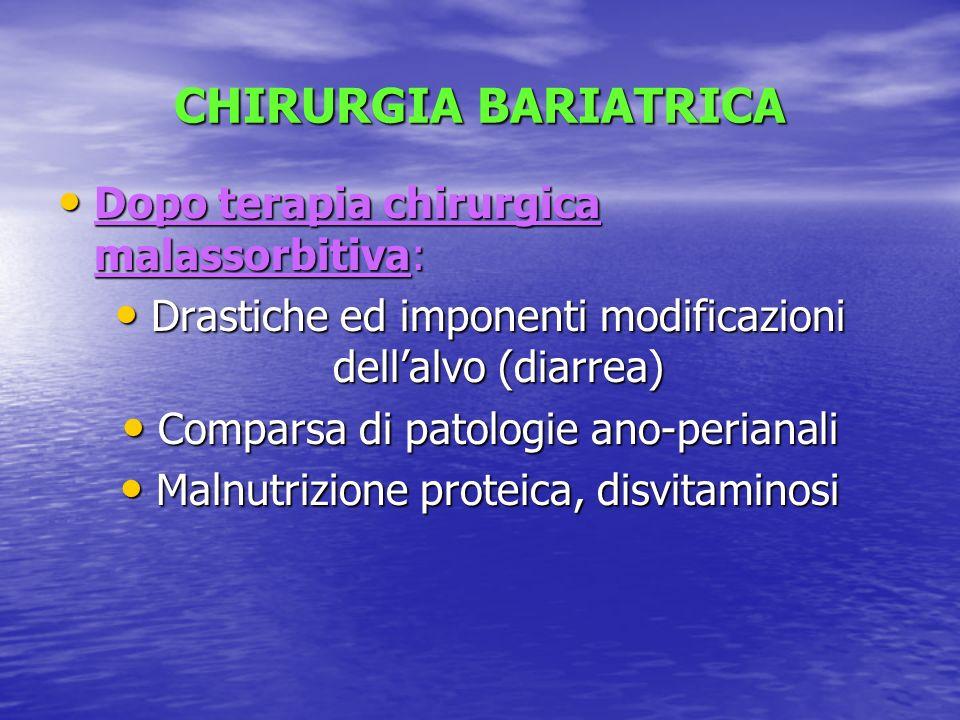 CHIRURGIA BARIATRICA Dopo terapia chirurgica malassorbitiva: Dopo terapia chirurgica malassorbitiva: Drastiche ed imponenti modificazioni dellalvo (di