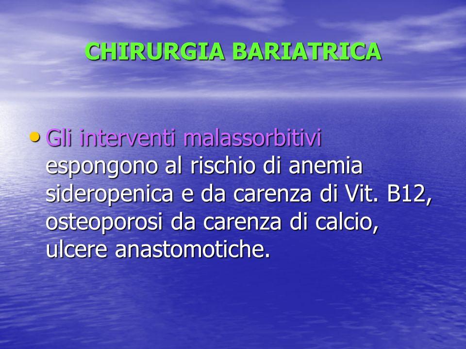 CHIRURGIA BARIATRICA Gli interventi malassorbitivi espongono al rischio di anemia sideropenica e da carenza di Vit. B12, osteoporosi da carenza di cal