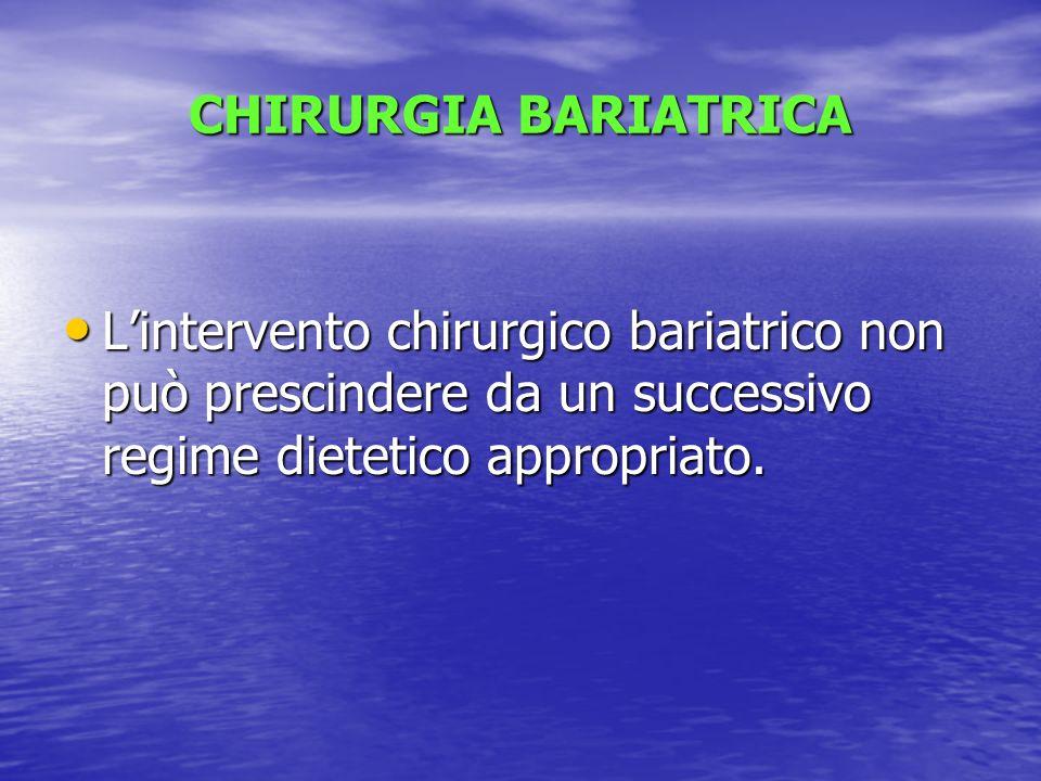 CHIRURGIA BARIATRICA Lintervento chirurgico bariatrico non può prescindere da un successivo regime dietetico appropriato. Lintervento chirurgico baria