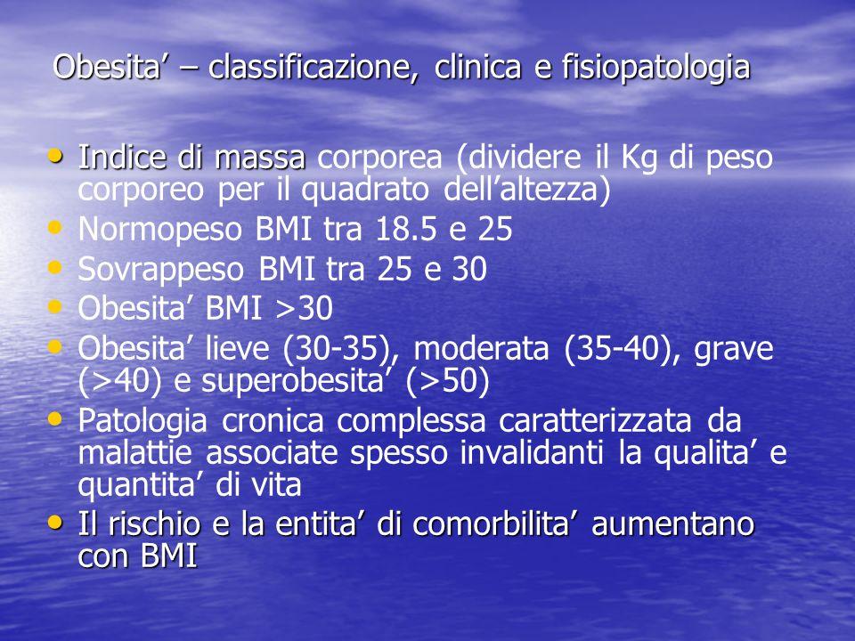 Obesita – classificazione, clinica e fisiopatologia Indice di massa Indice di massa corporea (dividere il Kg di peso corporeo per il quadrato dellalte
