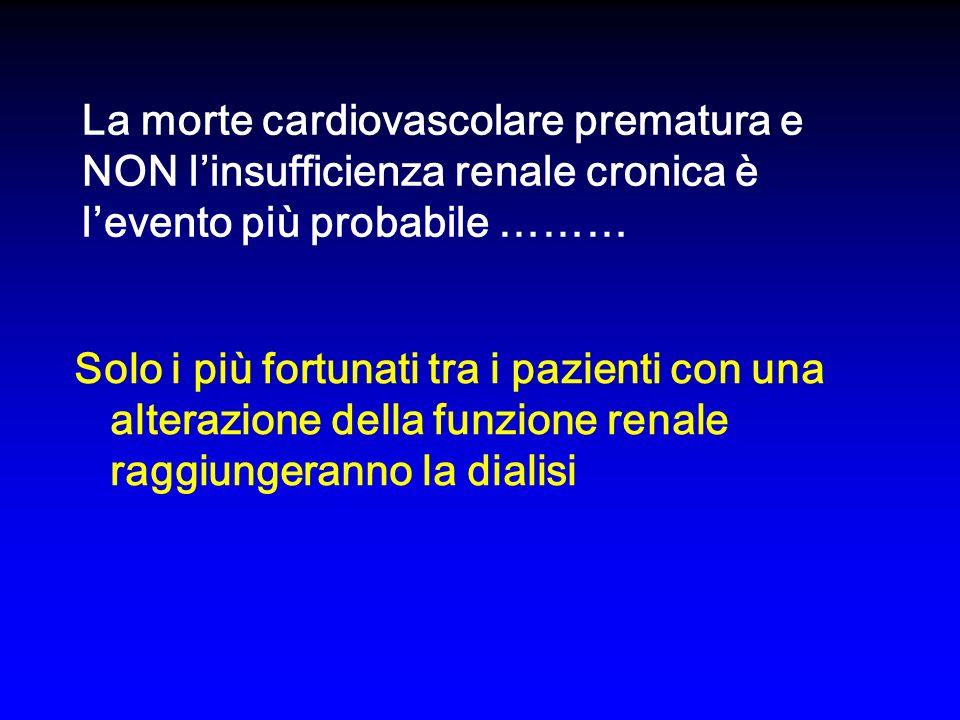 La morte cardiovascolare prematura e NON linsufficienza renale cronica è levento più probabile ……… Solo i più fortunati tra i pazienti con una alterazione della funzione renale raggiungeranno la dialisi