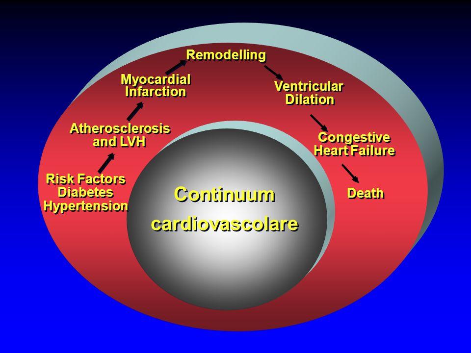 Risk Factors Diabetes Hypertension Risk Factors Diabetes Hypertension Myocardial Infarction Myocardial Infarction Congestive Heart Failure Congestive Heart Failure Death Continuum cardiovascolare Continuum cardiovascolare Ventricular Dilation Ventricular Dilation Remodelling Atherosclerosis and LVH Atherosclerosis and LVH