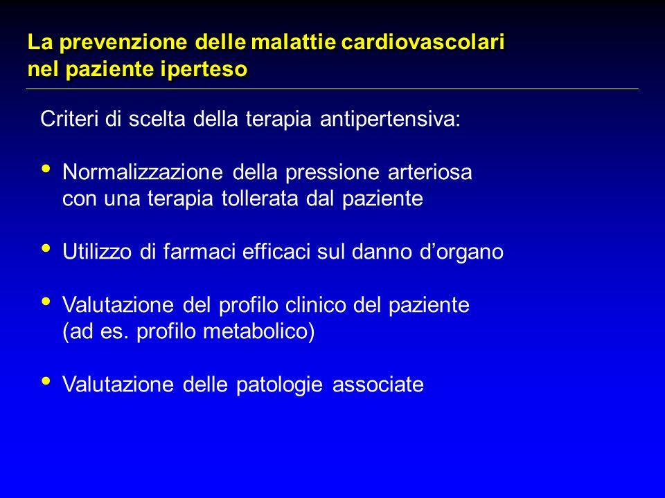 Criteri di scelta della terapia antipertensiva: Normalizzazione della pressione arteriosa con una terapia tollerata dal paziente Utilizzo di farmaci efficaci sul danno dorgano Valutazione del profilo clinico del paziente (ad es.