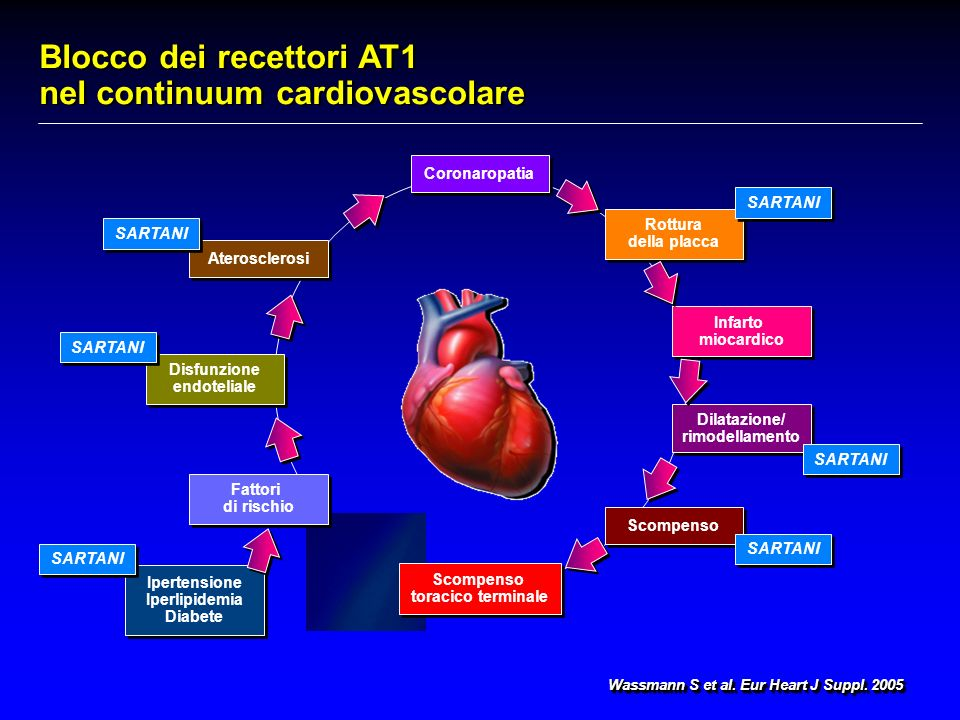 Blocco dei recettori AT1 nel continuum cardiovascolare Wassmann S et al.
