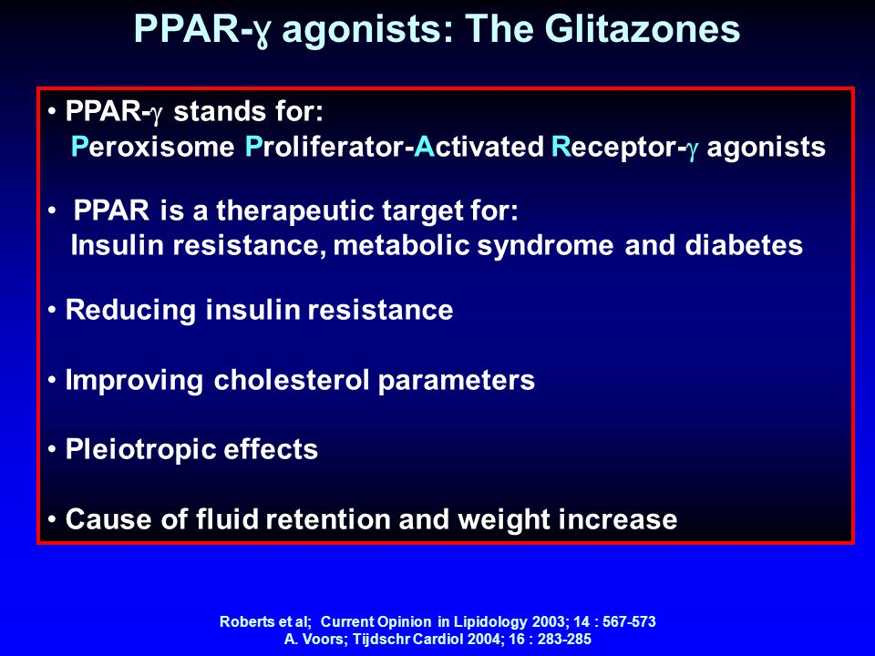 PPAR- ɣ agonists: The Glitazones PPAR- stands for: Peroxisome Proliferator-Activated Receptor- agonists PPAR is a therapeutic target for: Insulin resi