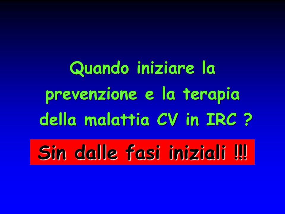Quando iniziare la prevenzione e la terapia della malattia CV in IRC .
