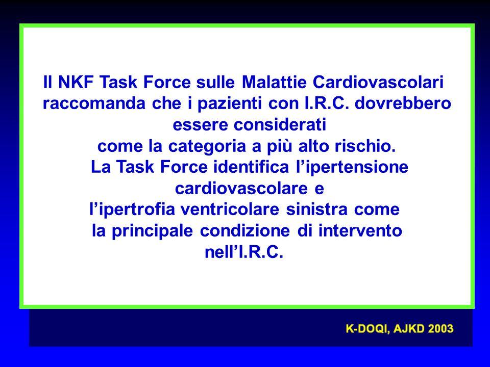 Il NKF Task Force sulle Malattie Cardiovascolari raccomanda che i pazienti con I.R.C.