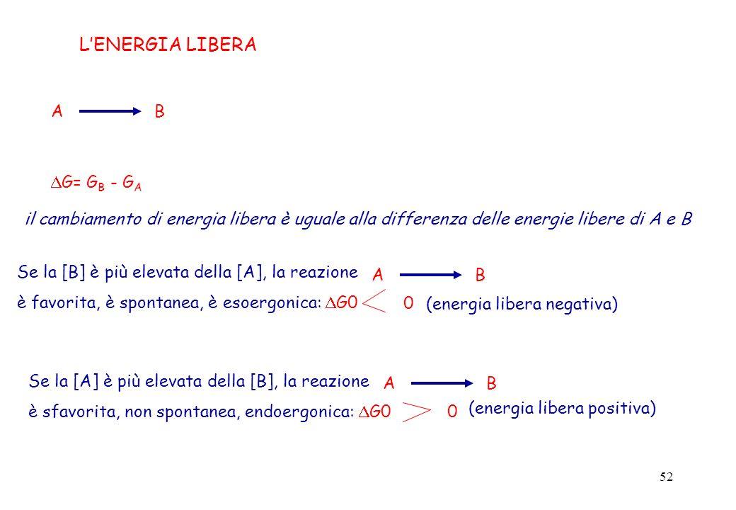 52 A B G= G B - G A il cambiamento di energia libera è uguale alla differenza delle energie libere di A e B LENERGIA LIBERA Se la [B] è più elevata de