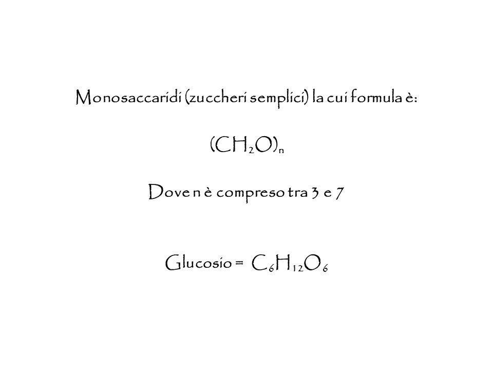 Monosaccaridi (zuccheri semplici) la cui formula è: (CH 2 O) n Dove n è compreso tra 3 e 7 Glucosio = C 6 H 12 O 6