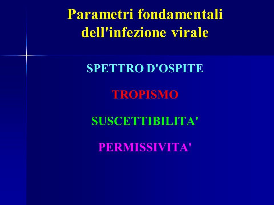 Parametri fondamentali dell infezione virale SPETTRO D OSPITE TROPISMO SUSCETTIBILITA PERMISSIVITA