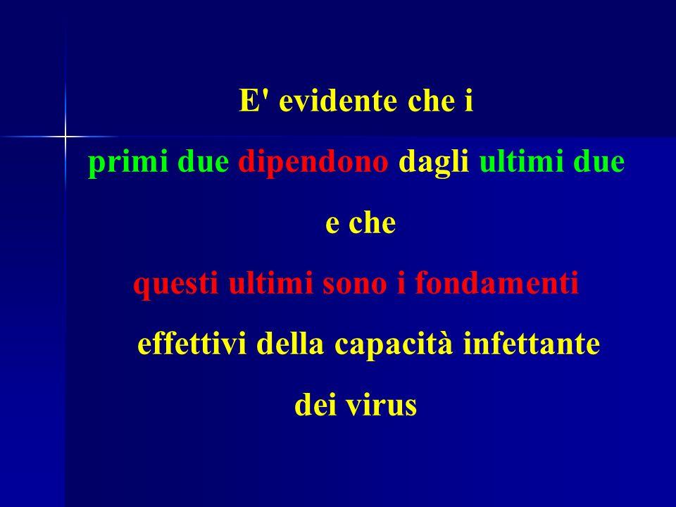 E evidente che i primi due dipendono dagli ultimi due e che questi ultimi sono i fondamenti effettivi della capacità infettante dei virus
