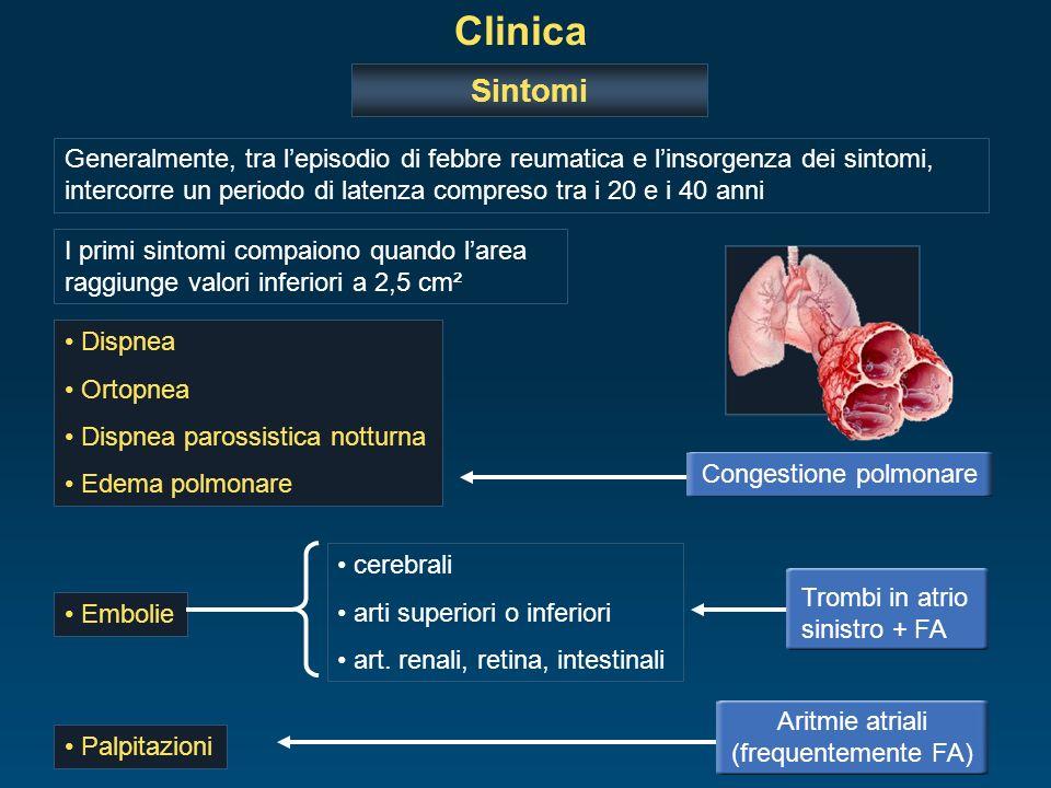 Clinica Sintomi Dispnea Ortopnea Dispnea parossistica notturna Edema polmonare Congestione polmonare Palpitazioni Aritmie atriali (frequentemente FA)