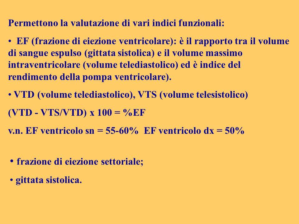Permettono la valutazione di vari indici funzionali: EF (frazione di eiezione ventricolare): è il rapporto tra il volume di sangue espulso (gittata si