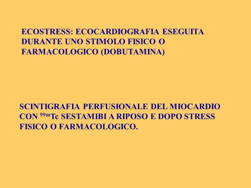 ECOSTRESS: ECOCARDIOGRAFIA ESEGUITA DURANTE UNO STIMOLO FISICO O FARMACOLOGICO (DOBUTAMINA) SCINTIGRAFIA PERFUSIONALE DEL MIOCARDIO CON 99m Tc SESTAMI