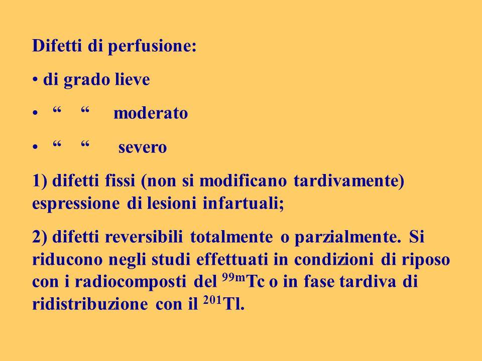 Difetti di perfusione: di grado lieve moderato severo 1) difetti fissi (non si modificano tardivamente) espressione di lesioni infartuali; 2) difetti
