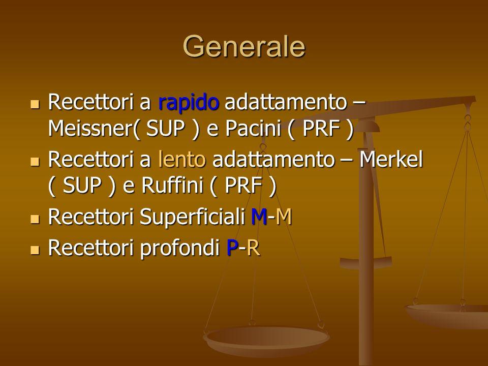 Generale Recettori a rapido adattamento – Meissner( SUP ) e Pacini ( PRF ) Recettori a rapido adattamento – Meissner( SUP ) e Pacini ( PRF ) Recettori a lento adattamento – Merkel ( SUP ) e Ruffini ( PRF ) Recettori a lento adattamento – Merkel ( SUP ) e Ruffini ( PRF ) Recettori Superficiali M-M Recettori Superficiali M-M Recettori profondi P-R Recettori profondi P-R