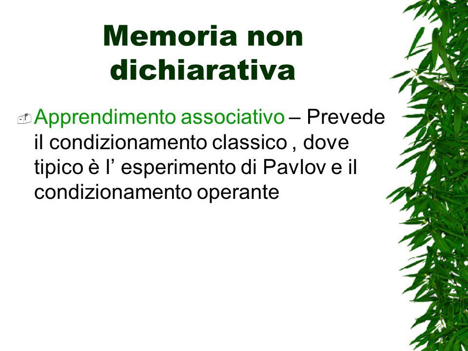 Memoria non dichiarativa Apprendimento associativo – Prevede il condizionamento classico, dove tipico è l esperimento di Pavlov e il condizionamento operante