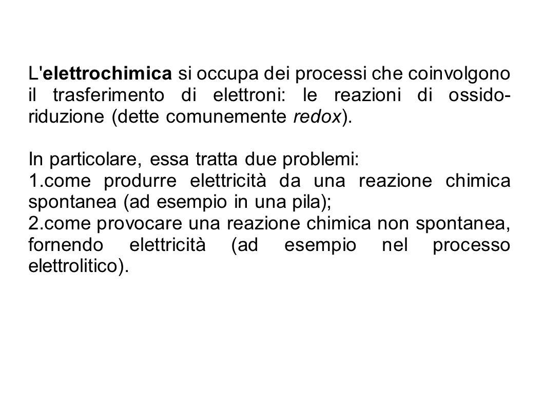 L'elettrochimica si occupa dei processi che coinvolgono il trasferimento di elettroni: le reazioni di ossido- riduzione (dette comunemente redox). In