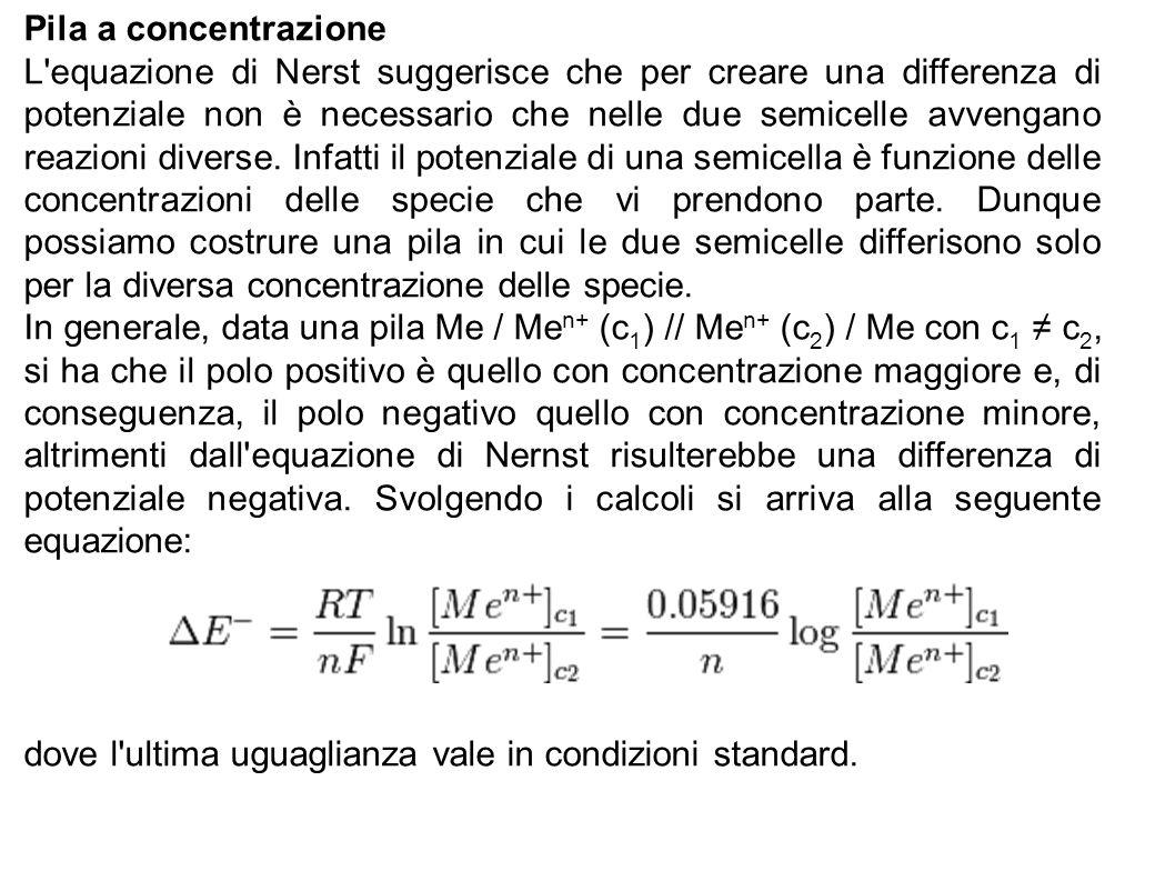 Pila a concentrazione L'equazione di Nerst suggerisce che per creare una differenza di potenziale non è necessario che nelle due semicelle avvengano r