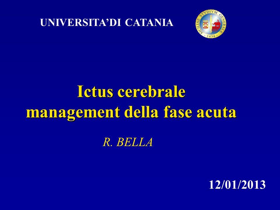 UNIVERSITADI CATANIA Ictus cerebrale management della fase acuta R. BELLA 12/01/2013