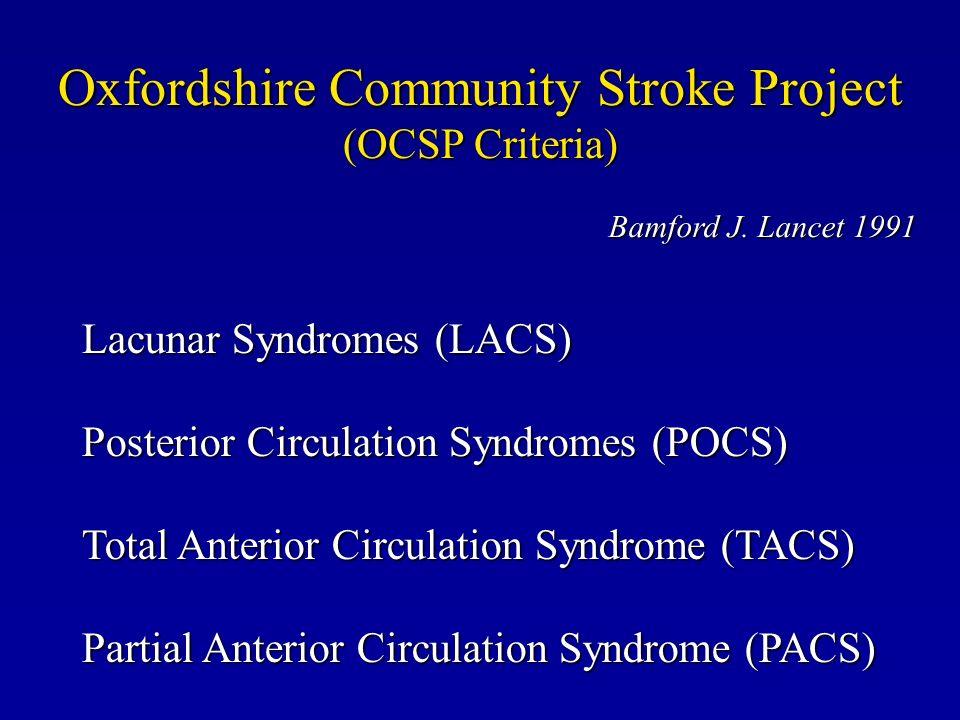 Oxfordshire Community Stroke Project (OCSP Criteria) Lacunar Syndromes (LACS) Posterior Circulation Syndromes (POCS) Total Anterior Circulation Syndro