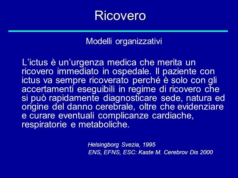 Ricovero Modelli organizzativi Lictus è unurgenza medica che merita un ricovero immediato in ospedale. Il paziente con ictus va sempre ricoverato perc