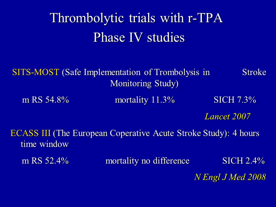 Phase IV studies SITS-MOST (Safe Implementation of Trombolysis in Stroke Monitoring Study) m RS 54.8% mortality 11.3% SICH 7.3% Lancet 2007 Lancet 200