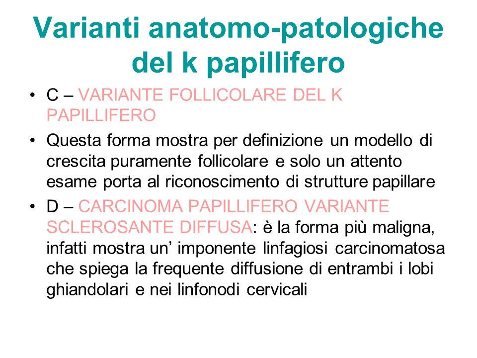 Varianti anatomo-patologiche del k papillifero C – VARIANTE FOLLICOLARE DEL K PAPILLIFERO Questa forma mostra per definizione un modello di crescita p