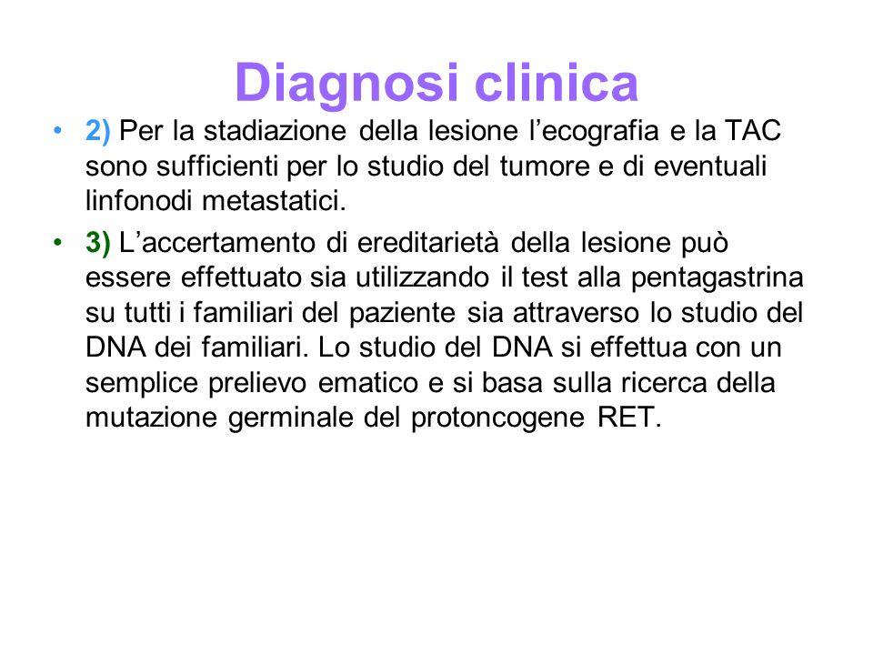 Diagnosi clinica 2) Per la stadiazione della lesione lecografia e la TAC sono sufficienti per lo studio del tumore e di eventuali linfonodi metastatic