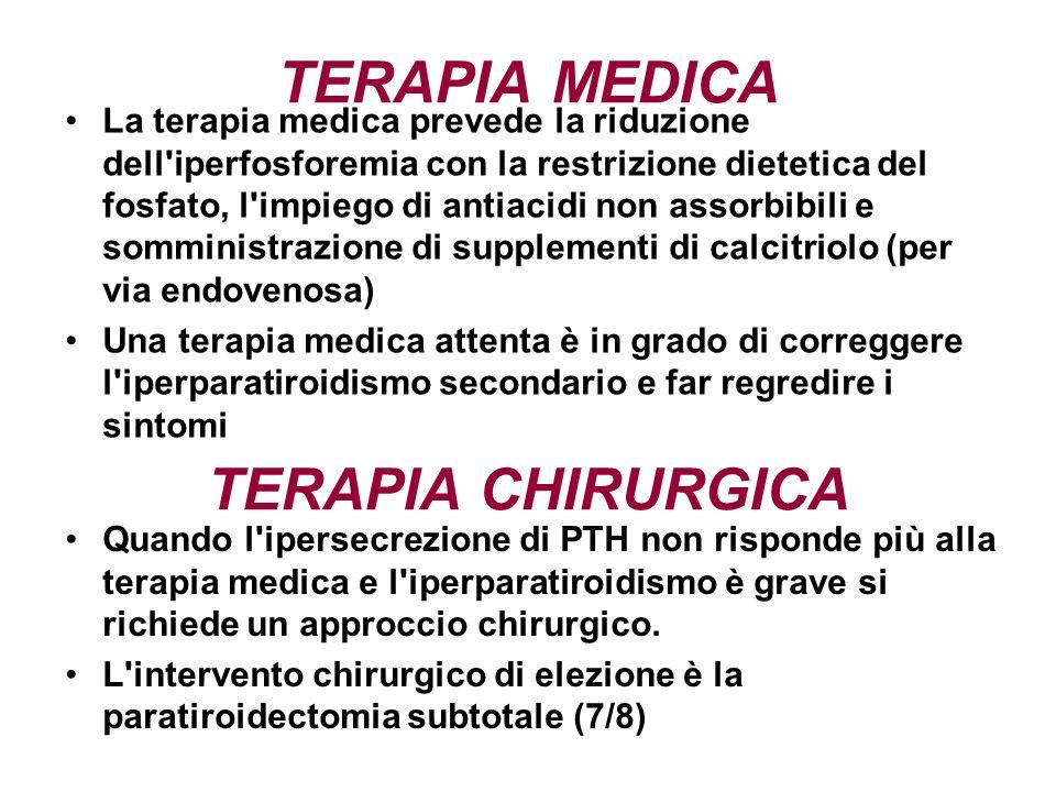 TERAPIA MEDICA La terapia medica prevede la riduzione dell'iperfosforemia con la restrizione dietetica del fosfato, l'impiego di antiacidi non assorbi
