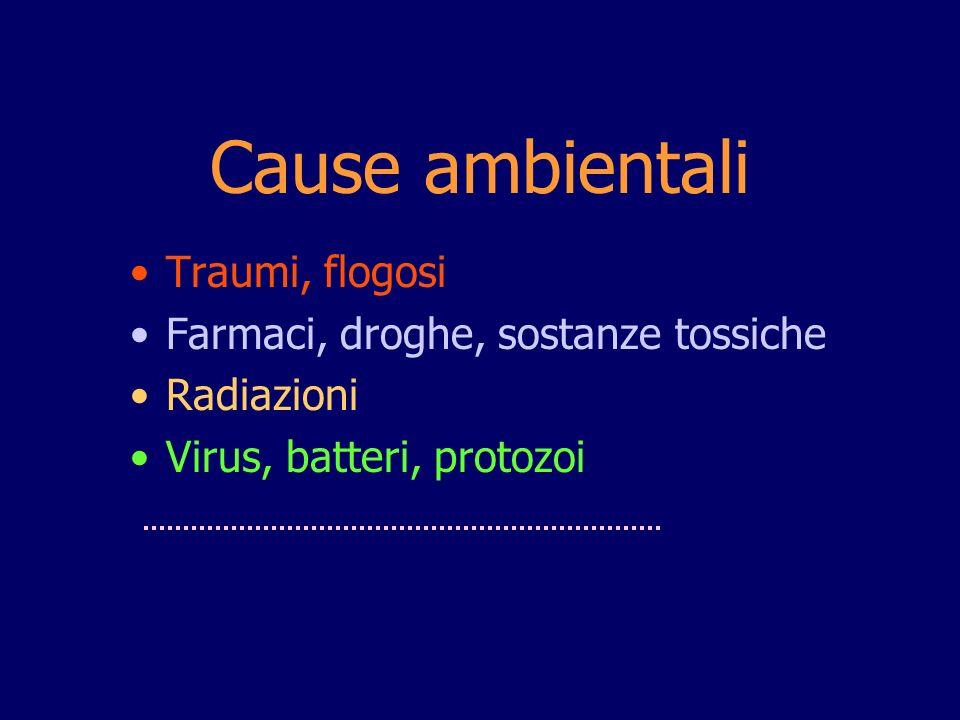Traumi, flogosi Farmaci, droghe, sostanze tossiche Radiazioni Virus, batteri, protozoi