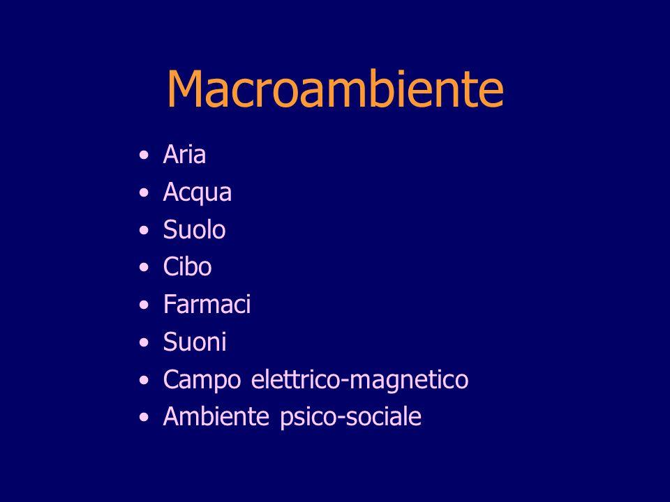 Macroambiente Aria Acqua Suolo Cibo Farmaci Suoni Campo elettrico-magnetico Ambiente psico-sociale