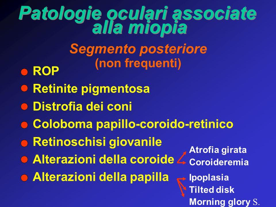 Patologie oculari associate alla miopia Patologie oculari associate alla miopia Segmento posteriore (non frequenti) ROP Retinite pigmentosa Distrofia