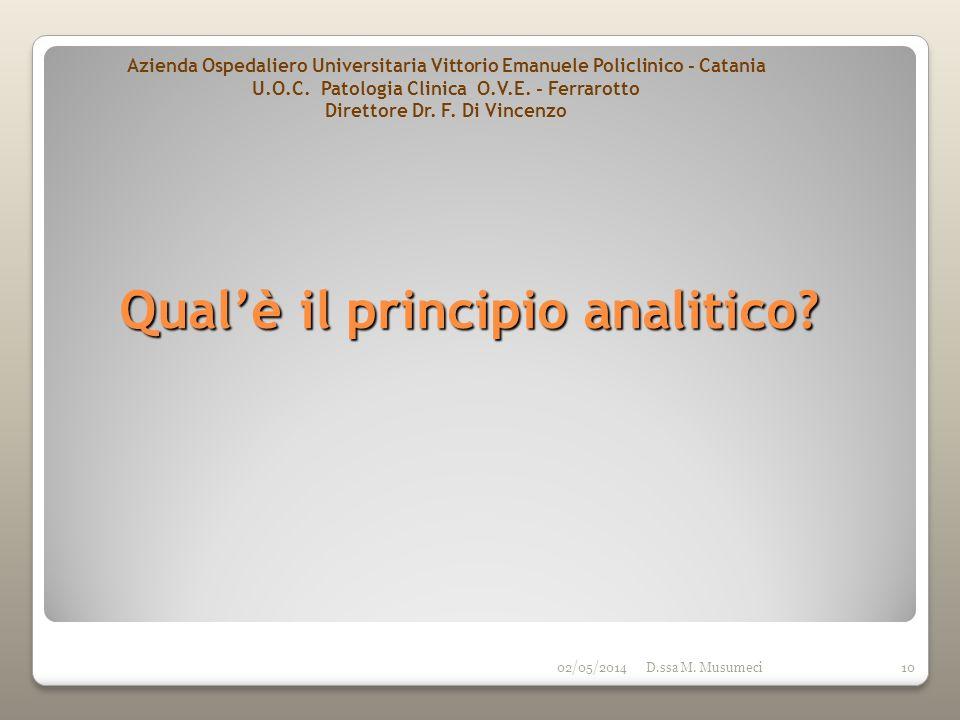 02/05/2014D.ssa M. Musumeci10 Qualè il principio analitico? Azienda Ospedaliero Universitaria Vittorio Emanuele Policlinico - Catania U.O.C. Patologia