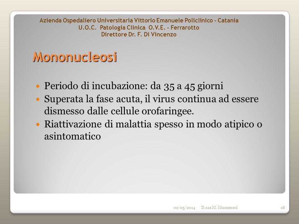 02/05/2014D.ssa M. Musumeci18 Periodo di incubazione: da 35 a 45 giorni Superata la fase acuta, il virus continua ad essere dismesso dalle cellule oro